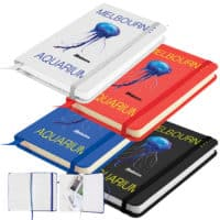 Promotional Notebook With Elastic Closure Expandable Pocket