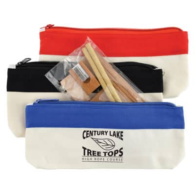Bamboo Stationary Set In Cotton Canvas Organiser Pencil Case