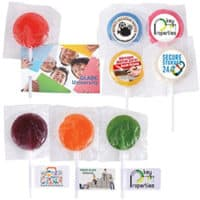 large branded lollipops, promo lollies, promo sweets,