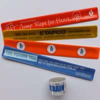 Branded PVC slap on wrist bands, promotional pvc slap on wrist bands