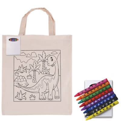 Colouring In Calico Short Handle Calico Tote Bag With Crayons