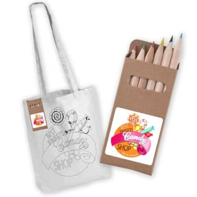 White Long Handle Cotton Bags With Colouring Pencils