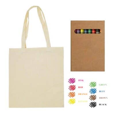Colouring Calico Bag With Gusset