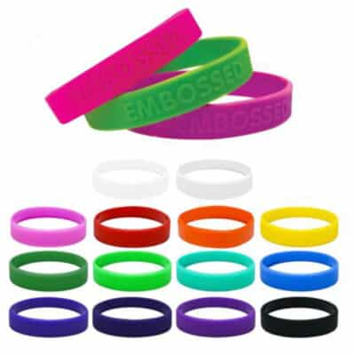 Embossed 12mm Wide Silicone Wrist Bands
